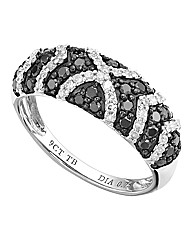 9 Carat White Gold Black & White Ring