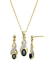 9 Carat Gold Sapphire Pendant & Earring
