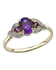 9 Carat Gold Amethyst Ring