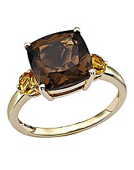 9 Carat Gold Smoky Quartz & Citrine Ring