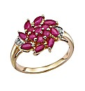 9 Carat Gold Ruby Cluster Ring