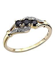 9 Carat Gold 3 Stone Gemstone Ring