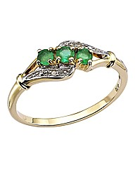 9 Carat Gold 3 Stone Gemstone Ring