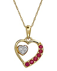 9 Carat Gold Gemstone Heart Pendant