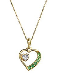 9 Carat Gold Gemstone Heart Pendant