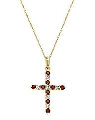 9 Carat Gold Garnet & Diamond Pendant