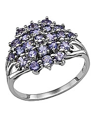 Sterling Silver & Tanzanite Cluster Ring