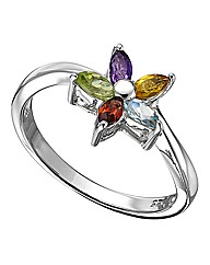 Sterling Silver & Multi-Gemstone Ring
