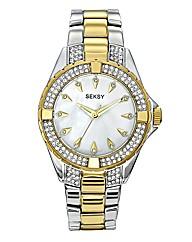 Seksy Two-Tone Glitzy Bracelet Watch