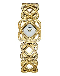 Seksy Swirl Stone-Set Bracelet Watch