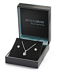 Silver Cubic Zirconia Pendant & Earrings