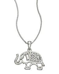 Sterling Silver Crystal Elephant Pendant