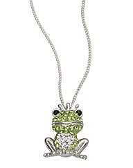 Sterling Silver and Crystal Frog Pendant