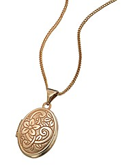 9 Carat Rose Gold Oval Locket Pendant