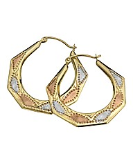 9Ct Three-tone Gold Creole Earrings