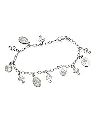 Sterling Silver Rosary Charm Bracelet