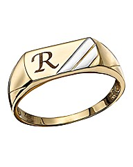 9 Carat Two Tone Gents Gold Initial Ring