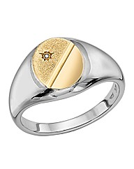 Sterling Silver 9 Carat Gold Gents Ring