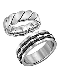 Stainless Steel Set Of Two Gents Rings