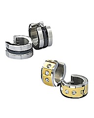 Stainless Steel Gents Hoop Earrings Set