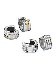 Stainless Steel Gents Hoop Earring Set