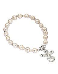 Beaded Pearl Stretch Angel Bracelet
