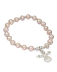Beaded Pearl Stretch Angel Bracelet