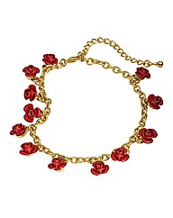 Dozen Red Roses Gold-Plated Bracelet