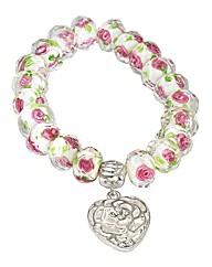 Rose Bead Stretch Bracelet