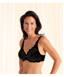 Playtex Black Underwired Flower Lace Bra