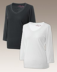 Body Star Pack of 2 3/4 Length T-Shirts