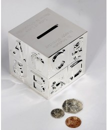Personalised Silverplate ABC Moneybank