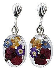 Flower Inset Jewellery Clip Earrings