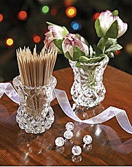 Crystal and Glass Toothpick Holders Pk 2