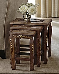 Carved Sheesham Nesting Tables