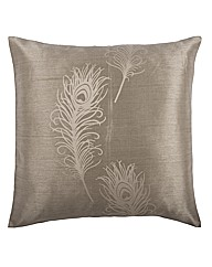 Peacock Feather Faux Silk Cushions Pair