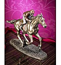 Horse & Jockey Polished Bronze Figurine