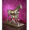 Horse and Foal Polished Bronze Figurine