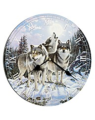 Midnight Watchers Wolf Wall Clock