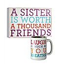 Sister Wall Plaque and Laugh Mug Set