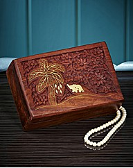 Carved Wooden Elephant Inlay Trinket Box
