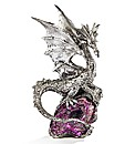 Silver Coloured Crystal Effect Dragon
