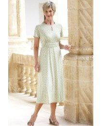 Spot Dress with Keyhole Neck Length 45in