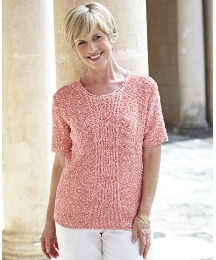 Boucle Sweater Round Neck Cable To Front
