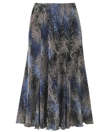 Print Plisse Panelled Skirt Length 27in