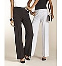 Pack of 2 Wide Leg Trousers Length 28in