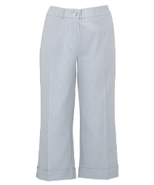 Cropped Stretch Linen Mix Trousers