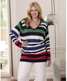 V-Neck Fine Knit Striped Sweater