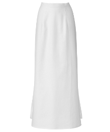 Side Split Linen Column Skirt