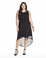 High Low Hem Dress with Lace Trim
